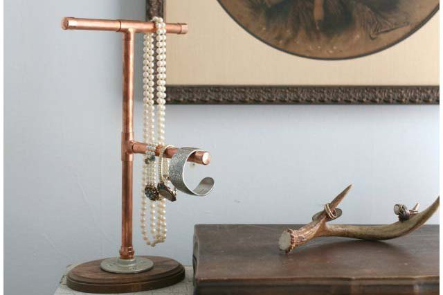 Copper pipe jewelry display