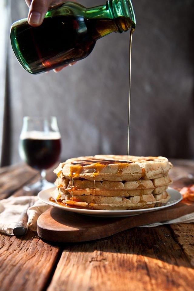 Brown sugar and bacon beer waffles