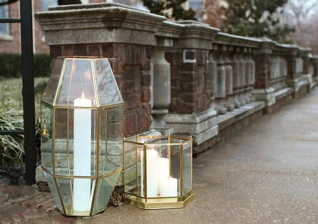 geometric lanterns set out on the street