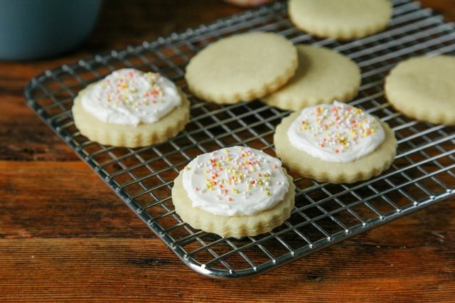 Sugar cookies topped with buttercream.