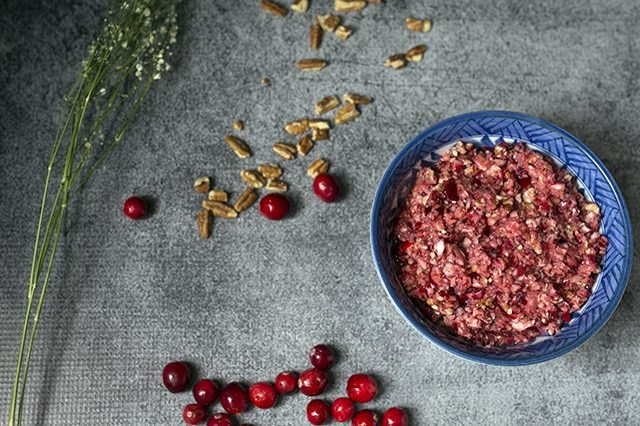 Cranberry orange relish with pecans in a bowl