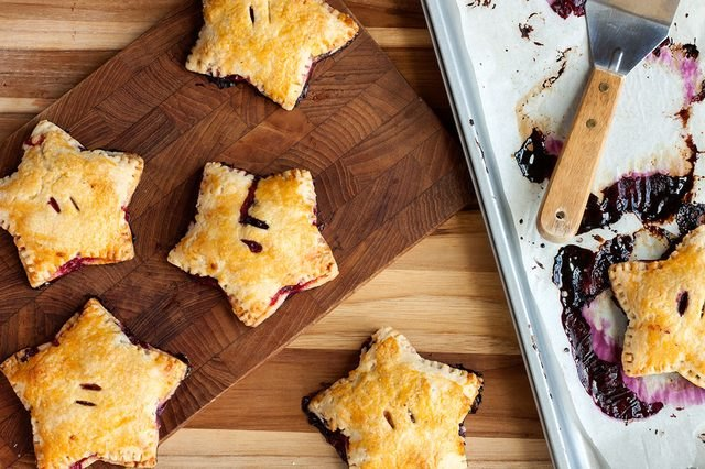 Individual berry pies shaped like stars.