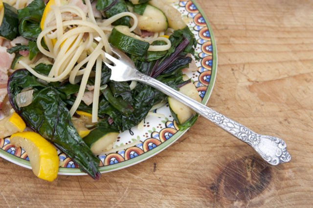 Linguine with sauteed Swiss chard, summer squash and bacon.