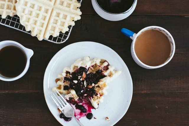 Gluten-Free Waffles with Berry Compote