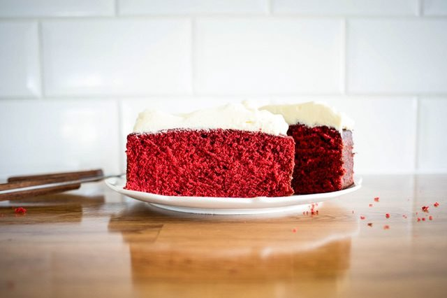 Red velvet pound cake invokes the colors of the season.