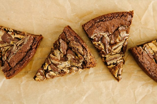 Marbled peanut butter and chocolate brownie wedges