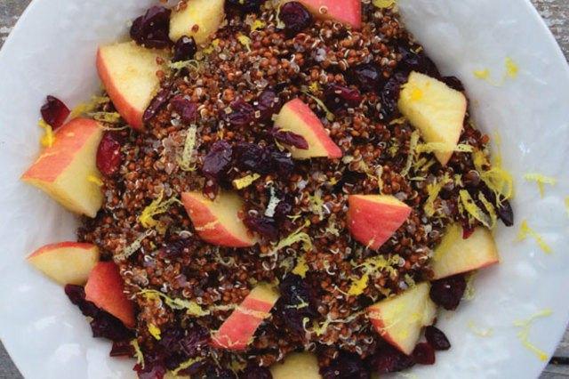 Apple, cherry and citrus quinoa porridge.