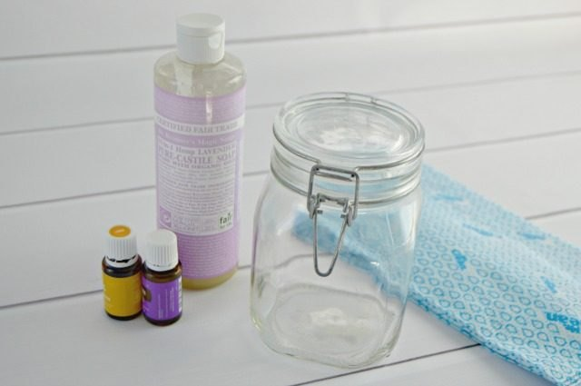 Glass jar, reusable wipe, and liquid soap