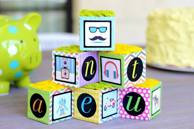 Blocks made of juice cartons.