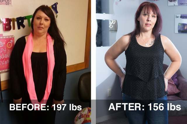 Mindy's before and after photos.