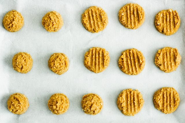Peanut butter cookies of different shapes and sizes.