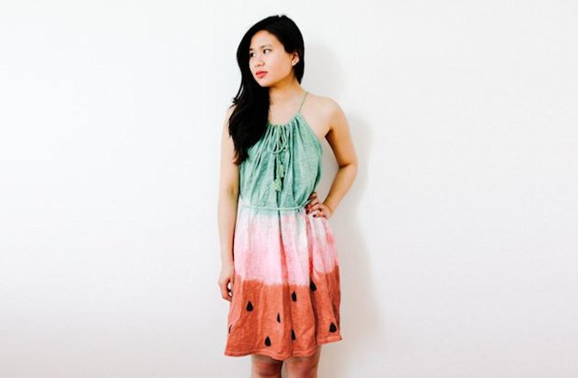 Dyed watermelon dress costume