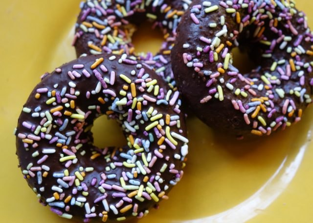 Gluten free, low-carb donuts with sprinkles