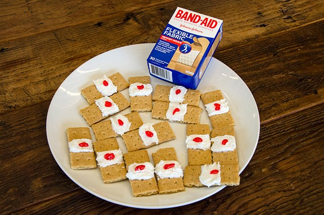 Display of graham cracker band-aids.
