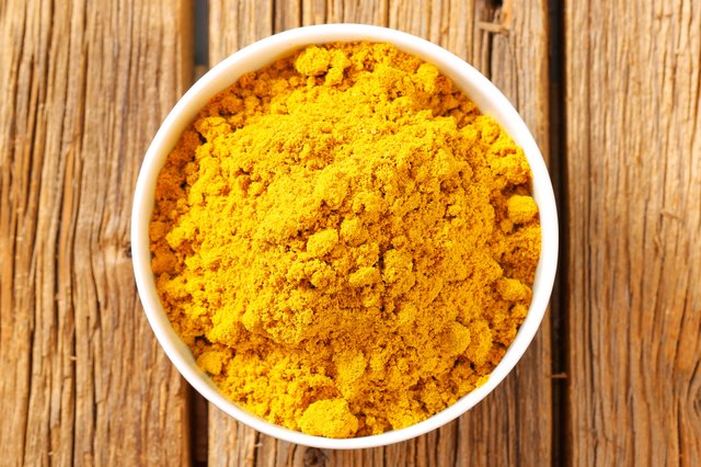 Top view of a bowl of turmeric powder