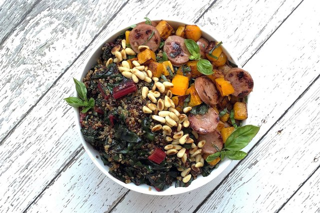 Swiss Chard, Squash, and Natural Sausage Breakfast Superfood Bowl