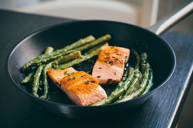 salmon and asparagus in pan