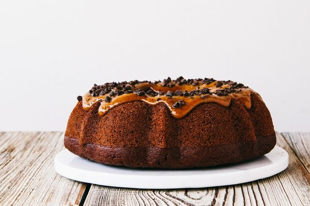 A bundt cake with a cookie butter glaze.