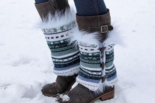 Recycle a sweater into faux fur boot sweaters.