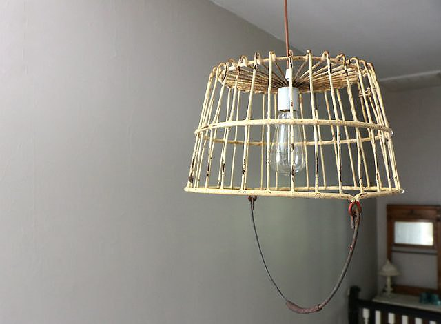 basket pendant light hanging from ceiling