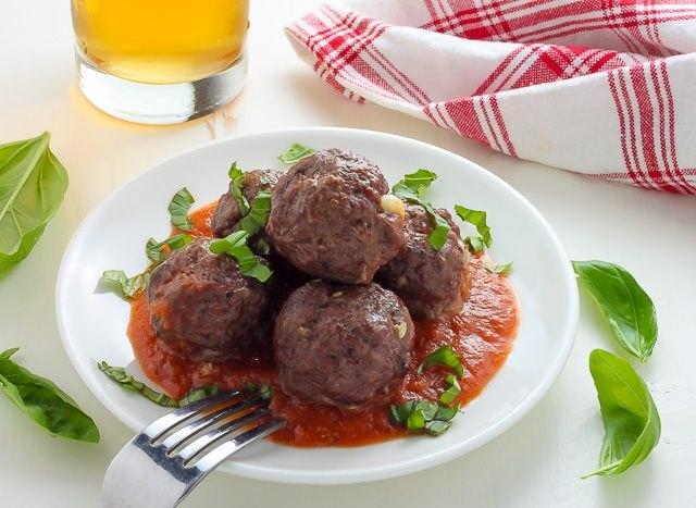 Mozzarella-filled meatalls.