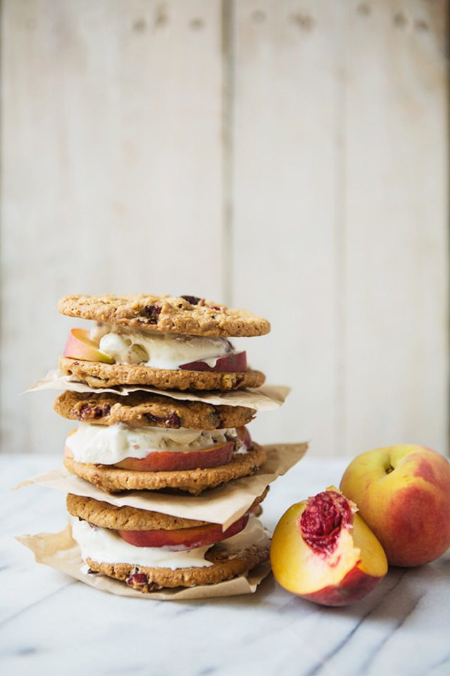 Stack of peaches and pecan bourbon ice cream sandwiches.
