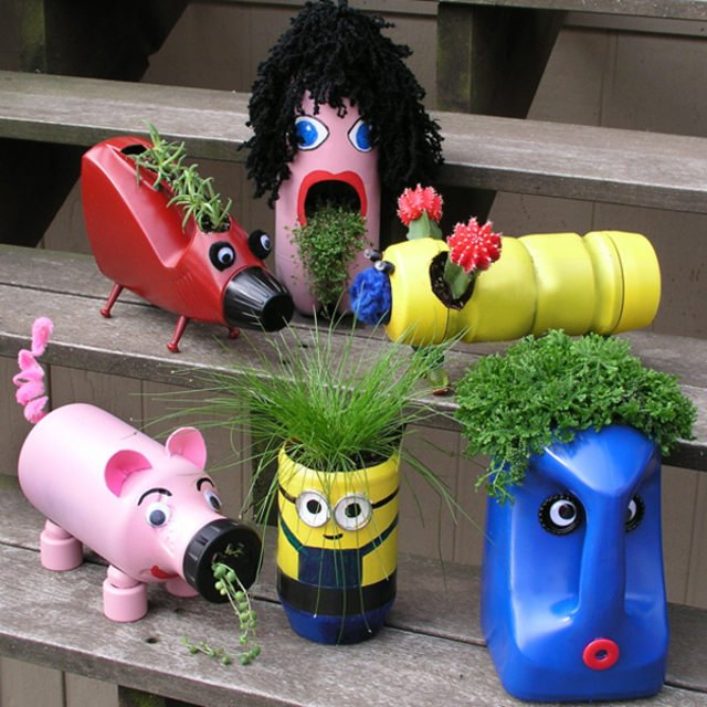 kids' bottle planters