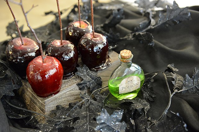 Candy apples on display.
