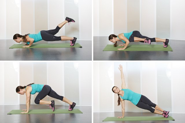 Woman doing burpee variations