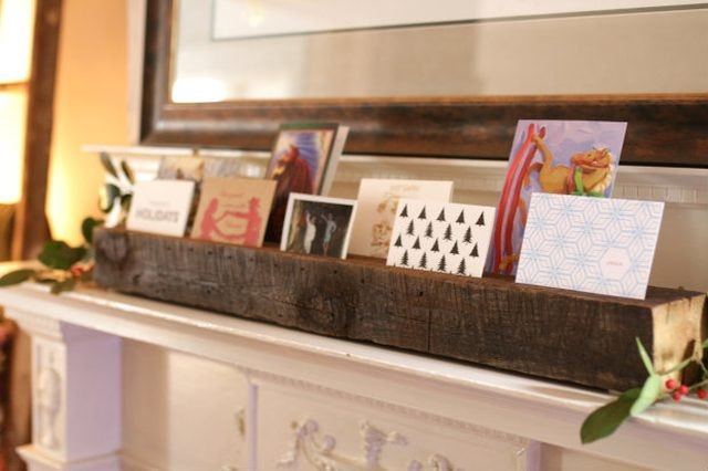 DIY reclaimed wood card display