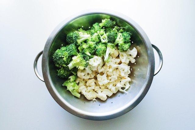 A colander of broccoli