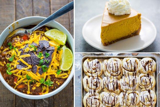 pumpkin-flavored chili, cheesecake and cinnamon rolls