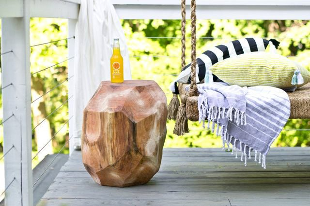 log side table on patio