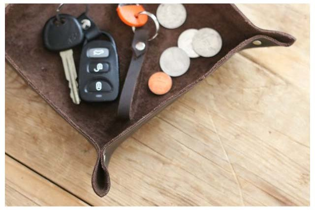 DIY leather catch-all tray