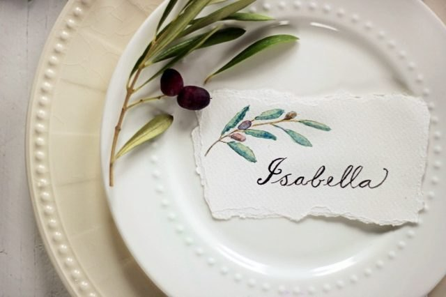 Use watercolors to create simple yet beautiful place cards.