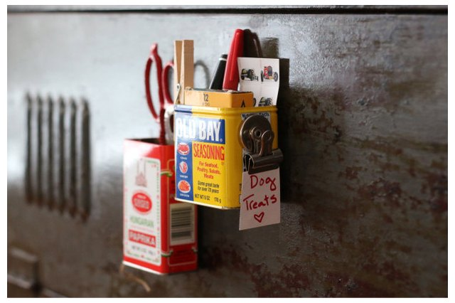 Spice tins turned magnetic organizers
