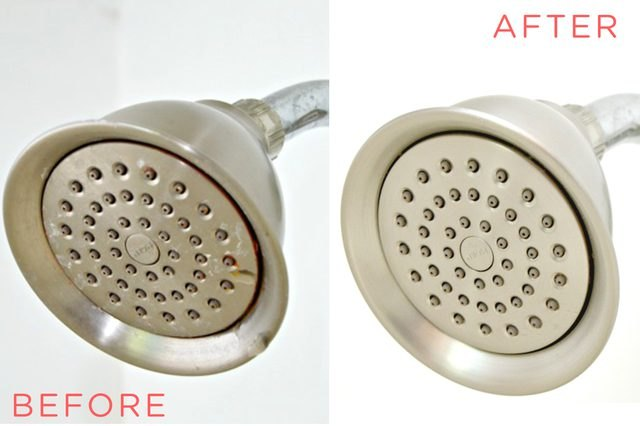 clean shower head before and after