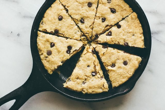 oatmeal chocolate chip cookie in a skillet