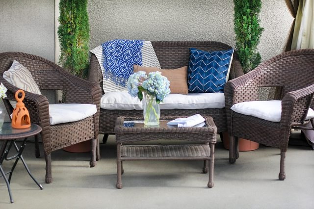 A set of patio furniture.