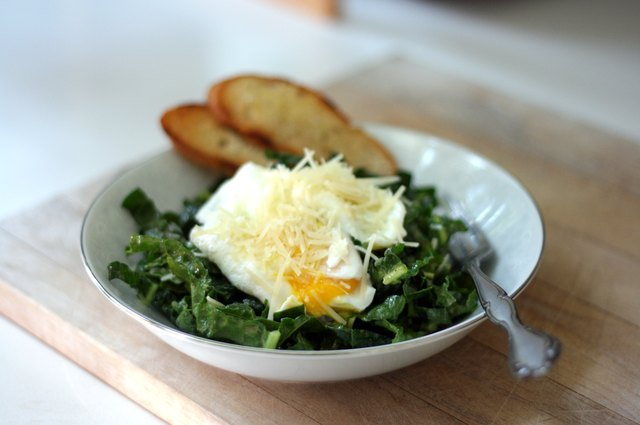 Kale Caesar Salad With Poached Eggs and Grilled Bread