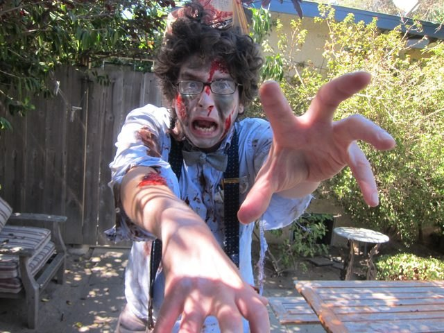 Funny zombie nerd adult costume