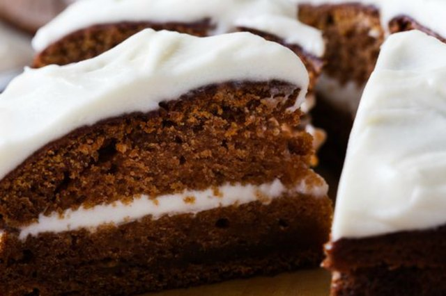 Freshly baked butternut squash cake with cream cheese frosting