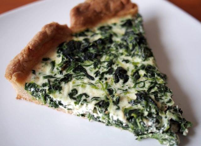 A slice of easy spinach quiche.
