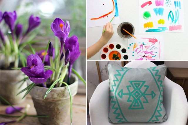 Flowers, watercolor paint and a pillow.