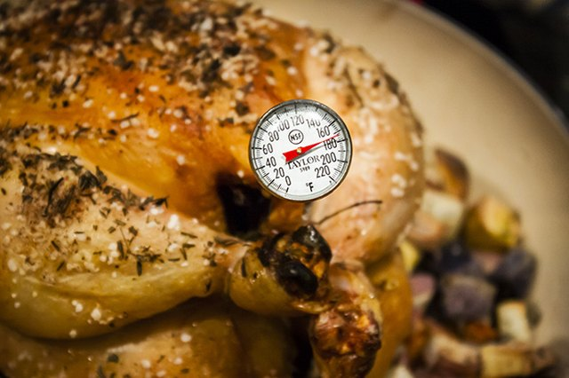 Check temperature on chicken