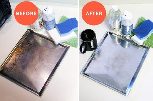 Remove stains on bakeware, before and after