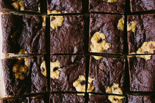 Brownie squares with chocolate chip cookie dough baked in.