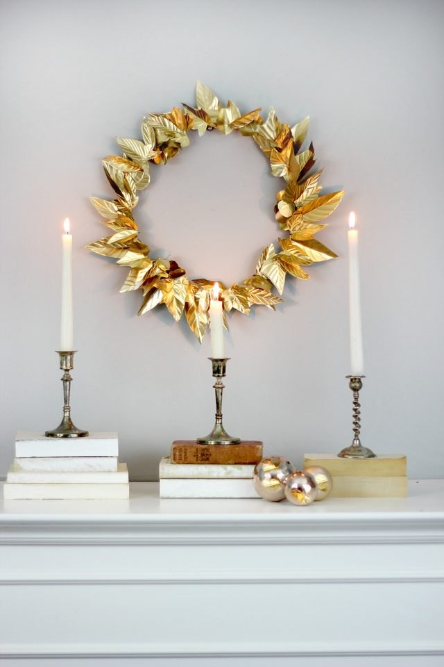 DIY embossed foil leaf wreath