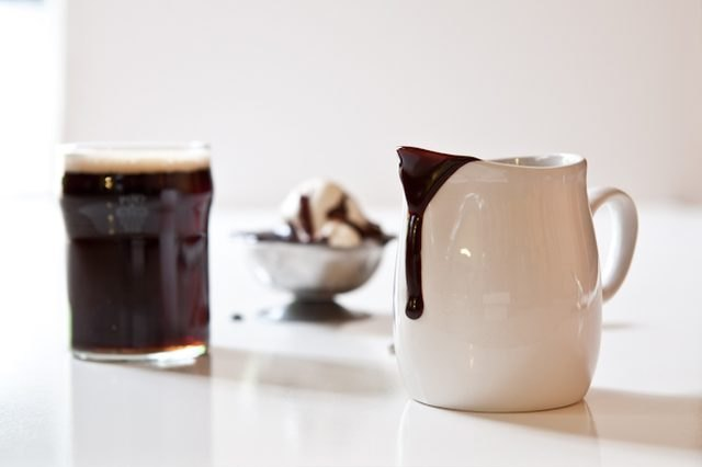 Homemade chocolate stout fudge sauce.
