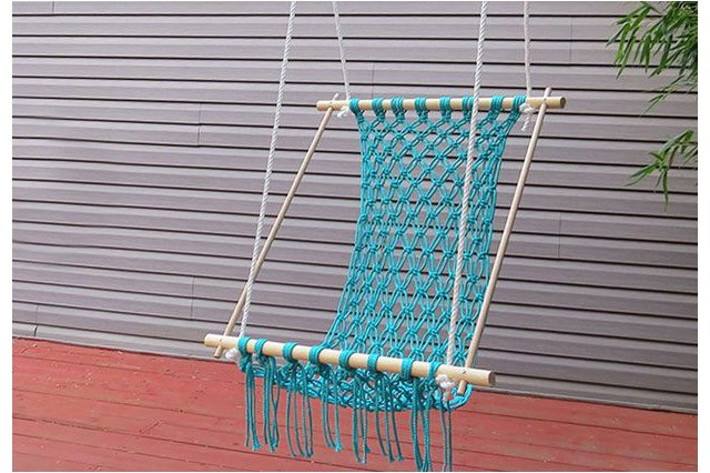blue hammock hanging outside